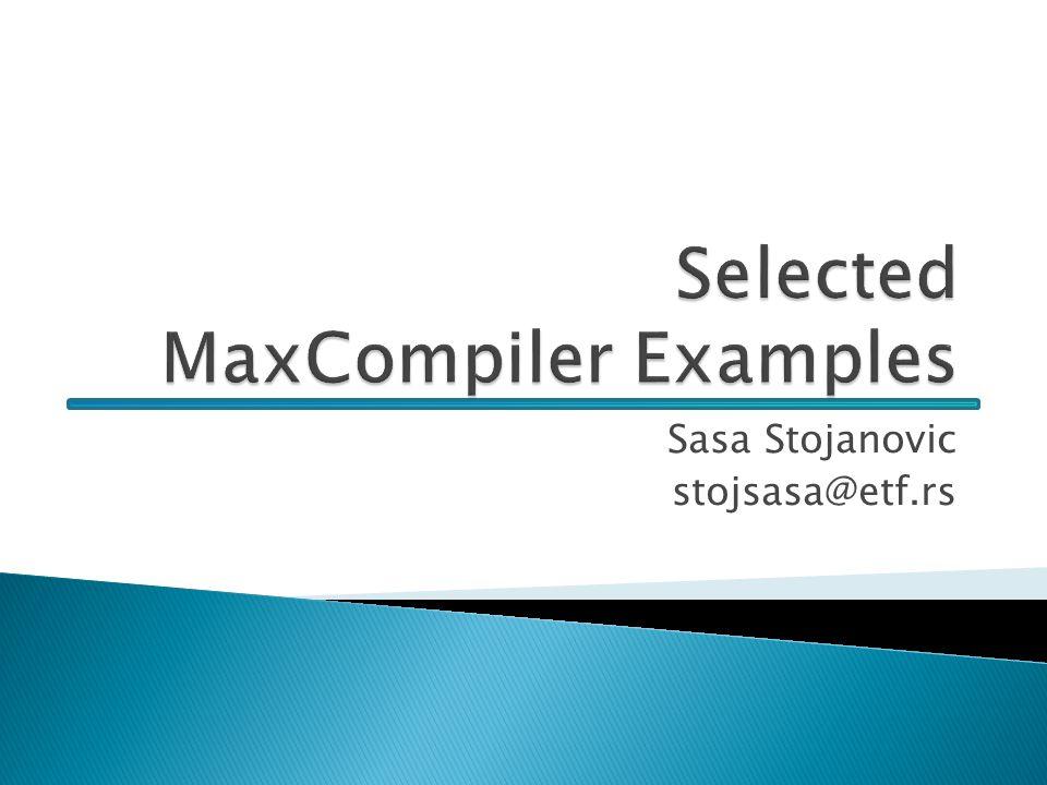 Selected MaxCompiler Examples