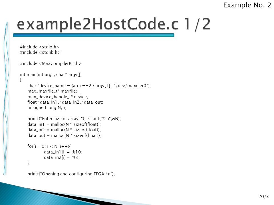 example2HostCode.c 1/2 Example No. 2