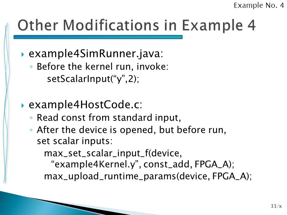 Other Modifications in Example 4