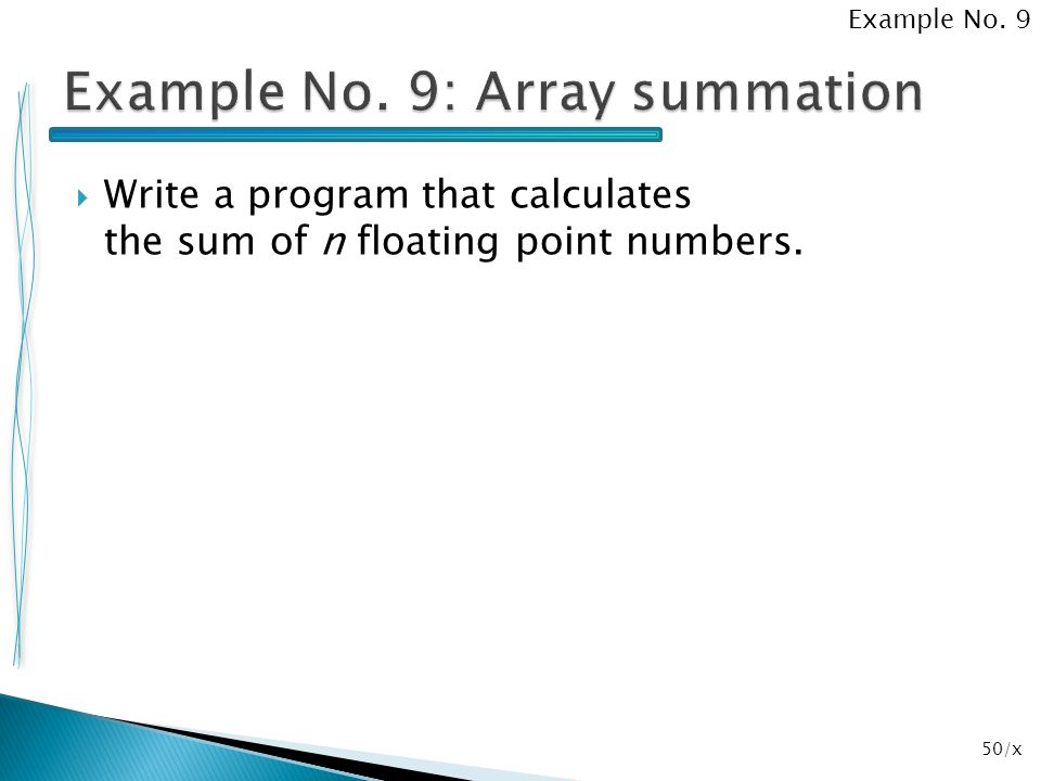 Example No. 9: Array summation