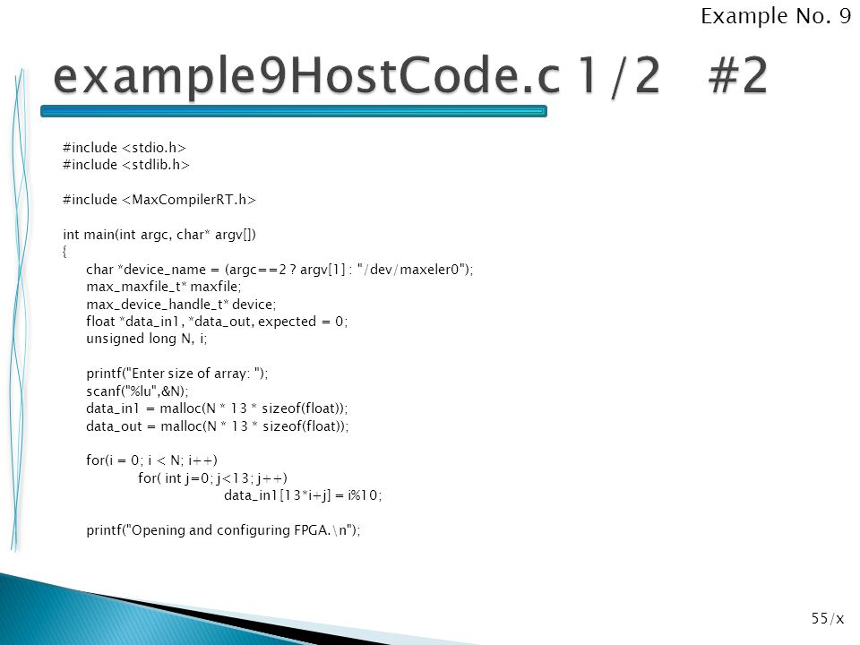 example9HostCode.c 1/2 #2 Example No. 9
