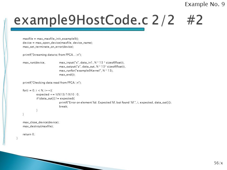 example9HostCode.c 2/2 #2 Example No. 9