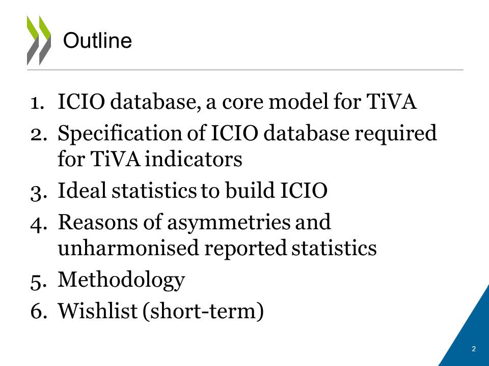 Outline ICIO database, a core model for TiVA. Specification of ICIO database required for TiVA indicators.