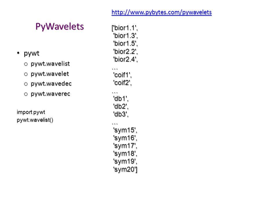 PyWavelets pywt pywt.wavelist pywt.wavelet pywt.wavedec pywt.waverec