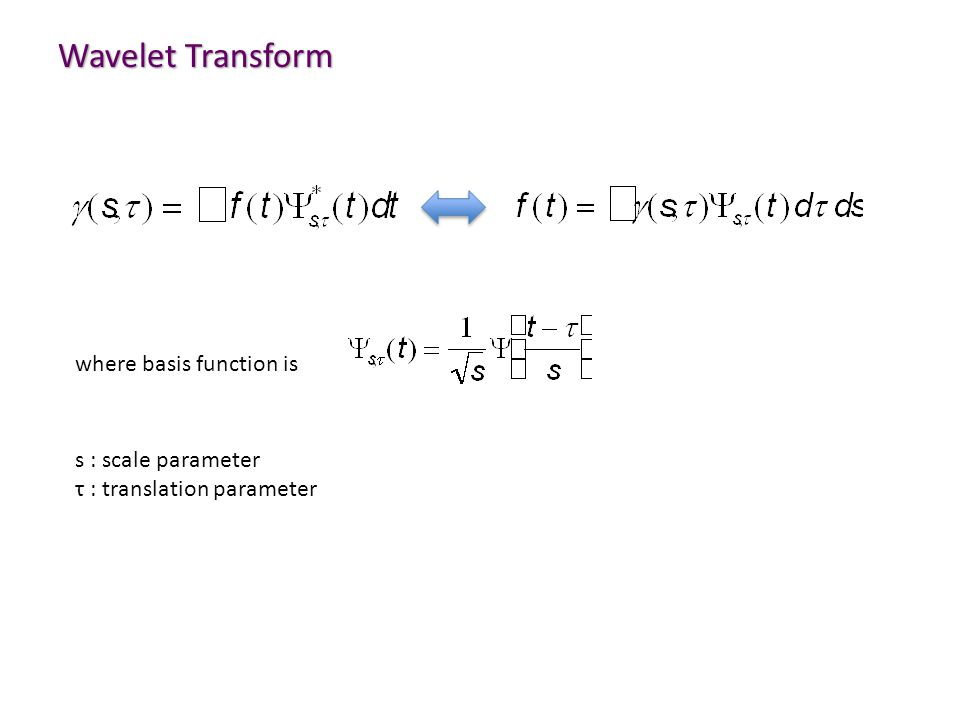 Wavelet Transform where basis function is s : scale parameter