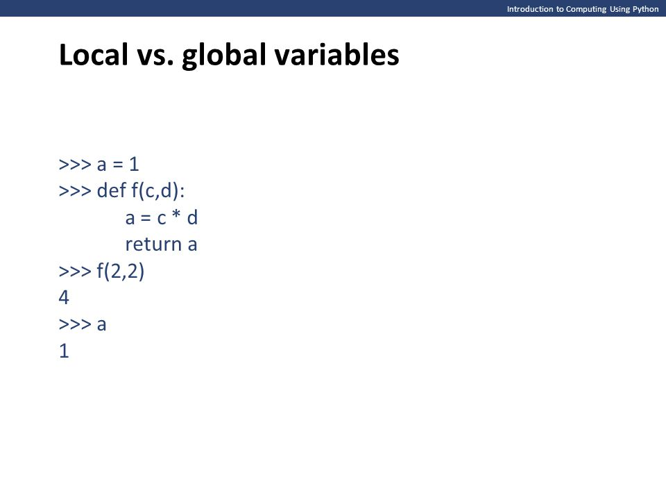 Local vs. global variables