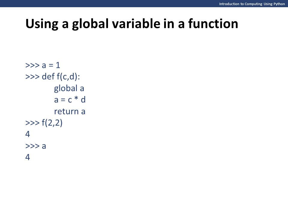 Using a global variable in a function