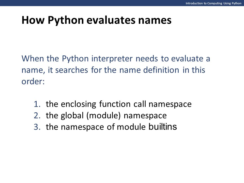 How Python evaluates names