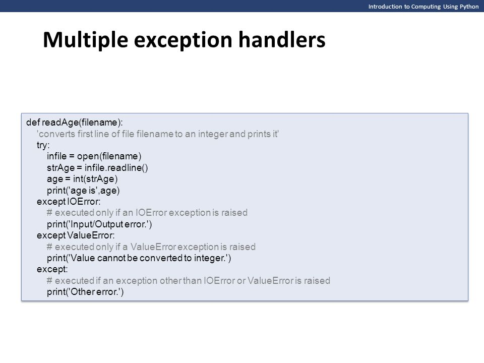 Multiple exception handlers