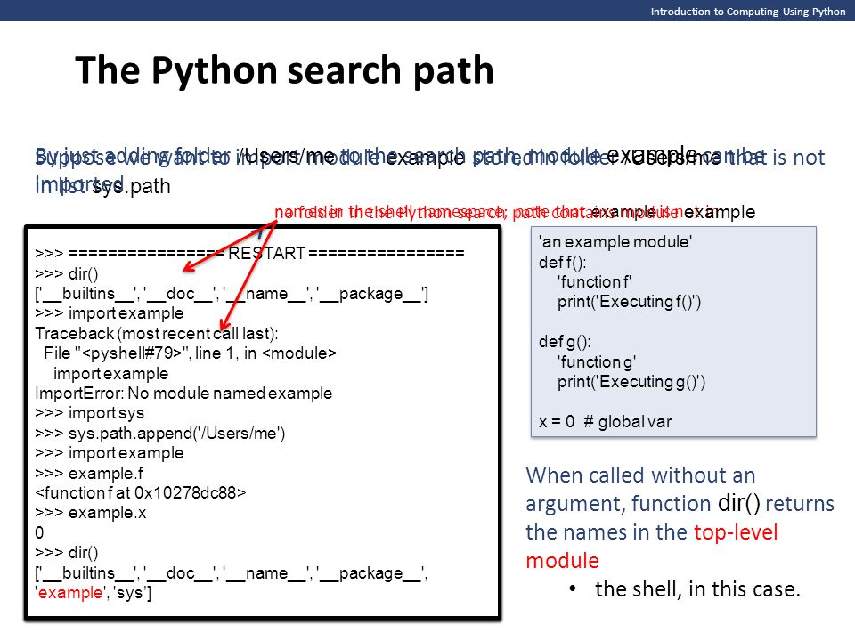 The Python search path Introduction to Computing Using Python.