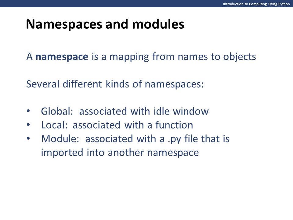 Namespaces and modules