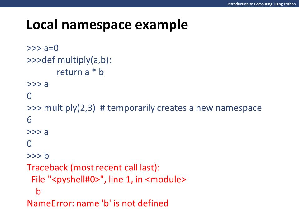 Local namespace example