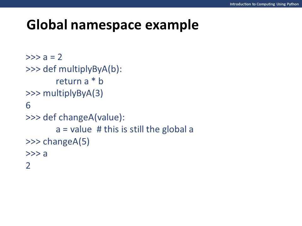 Global namespace example