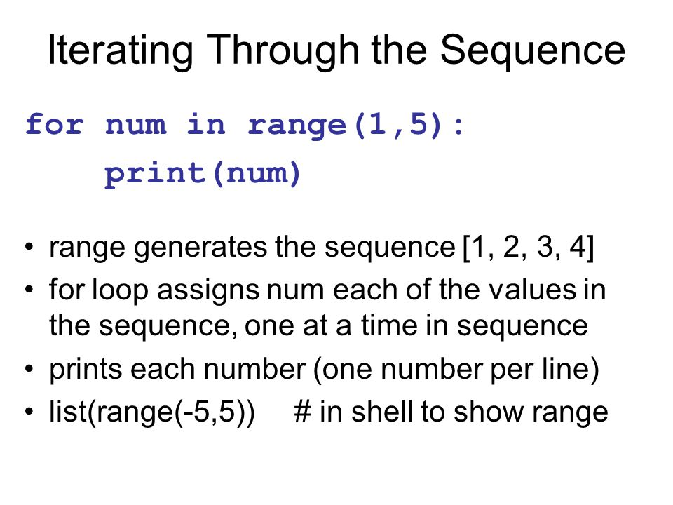 Iterating Through the Sequence