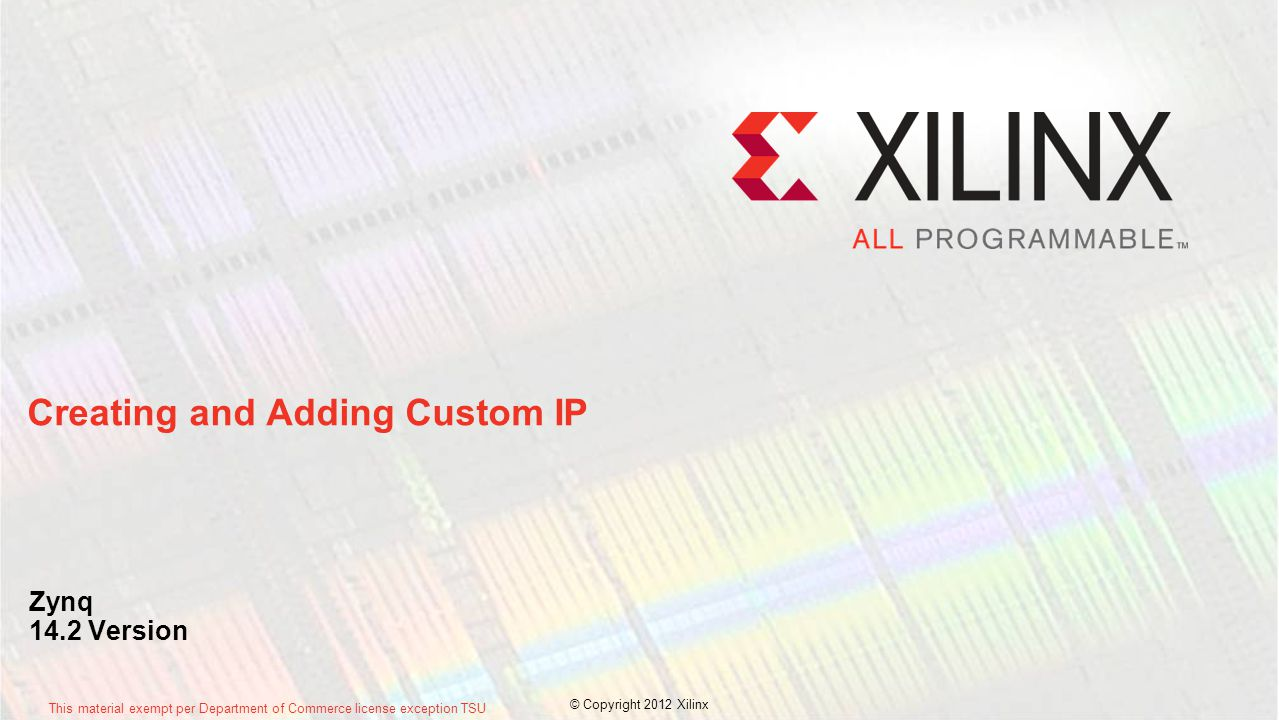 Creating and Adding Custom IP