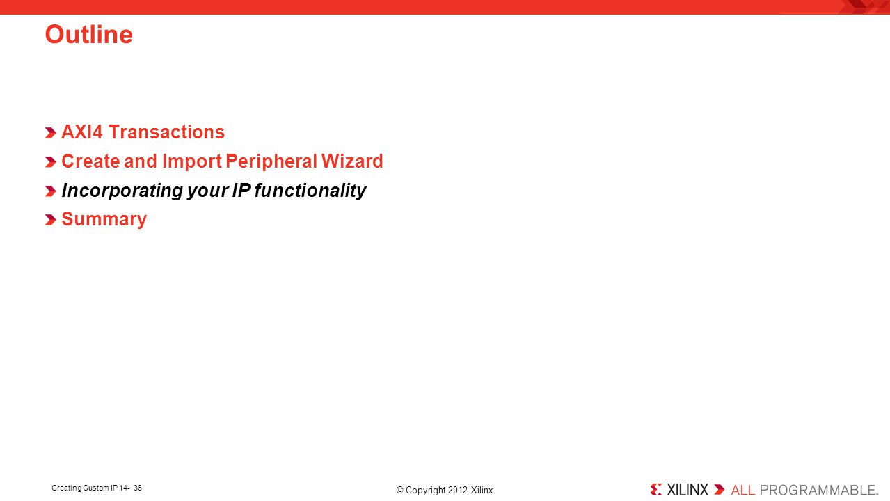Outline AXI4 Transactions Create and Import Peripheral Wizard