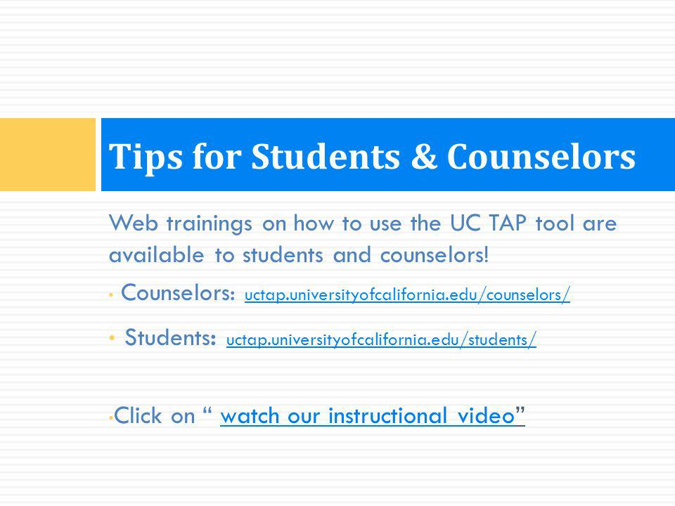 Tips for Students & Counselors