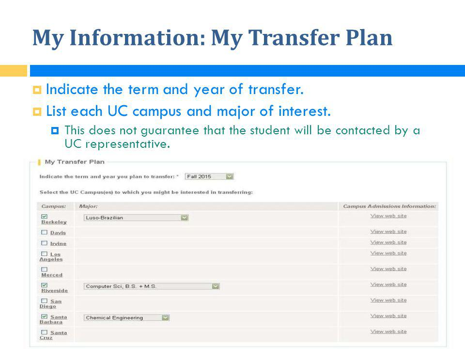 My Information: My Transfer Plan