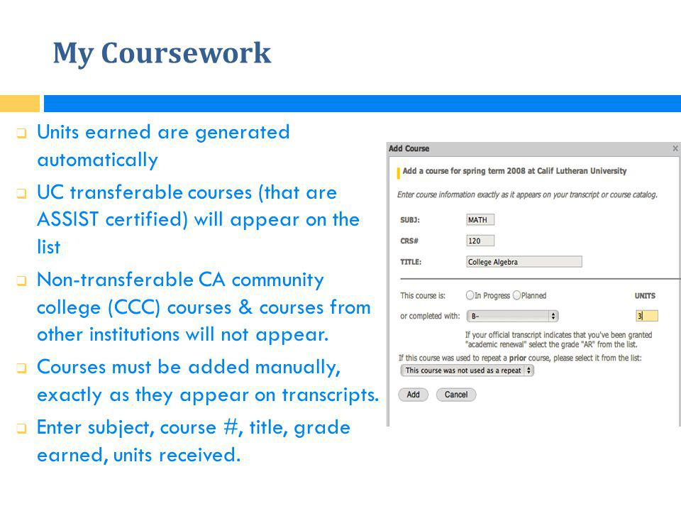 My Coursework Units earned are generated automatically