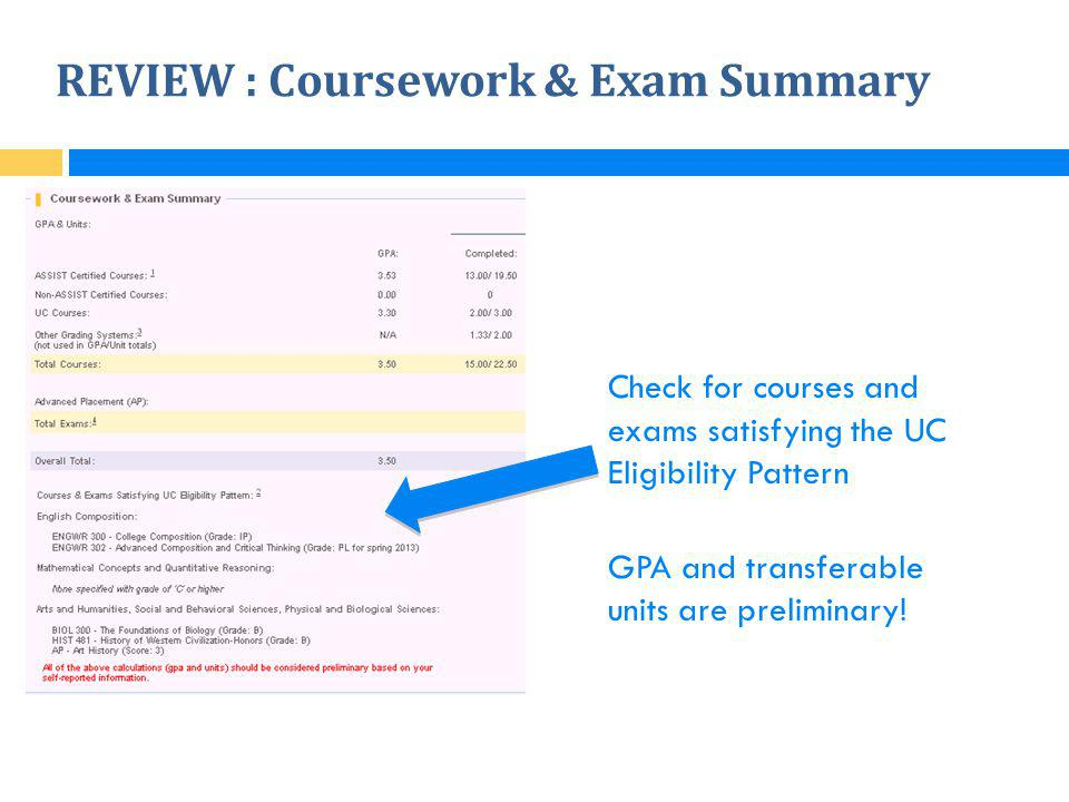 REVIEW : Coursework & Exam Summary