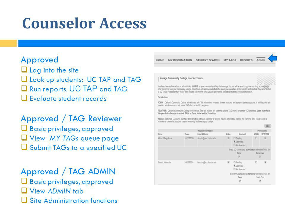 Counselor Access Approved Approved / TAG Reviewer Approved / TAG ADMIN