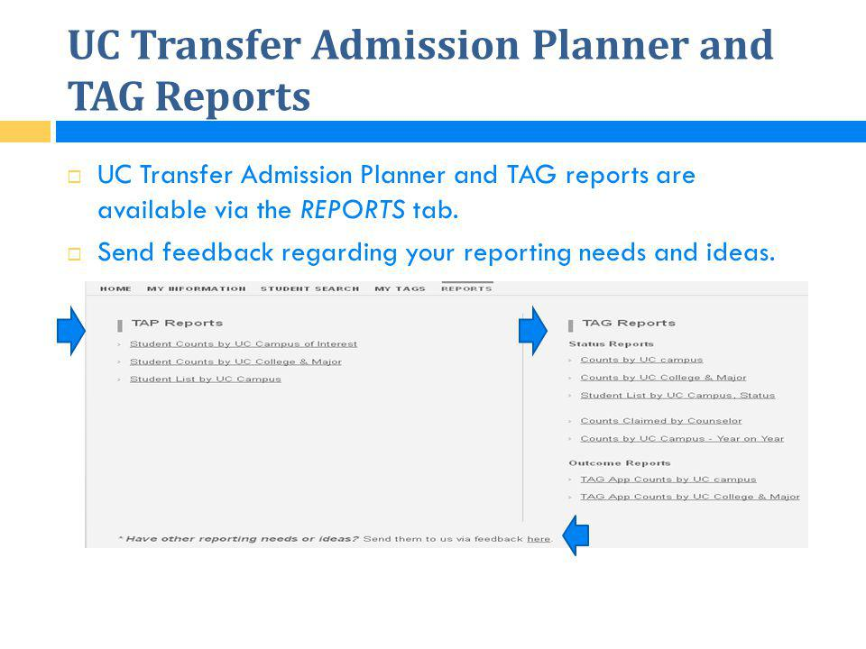 UC Transfer Admission Planner and TAG Reports