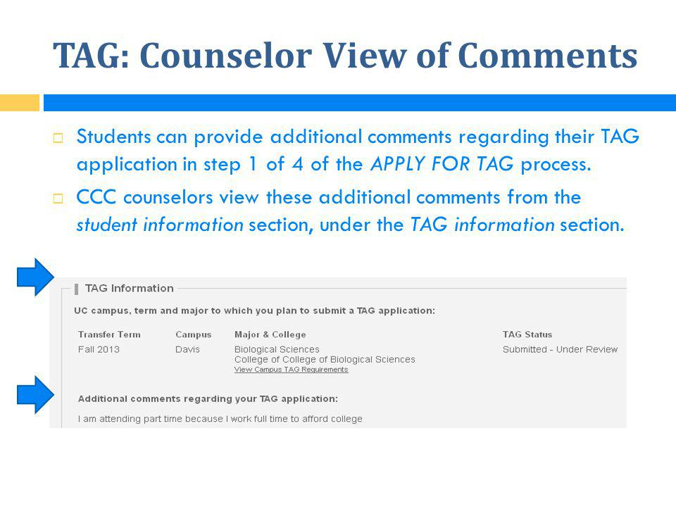 TAG: Counselor View of Comments