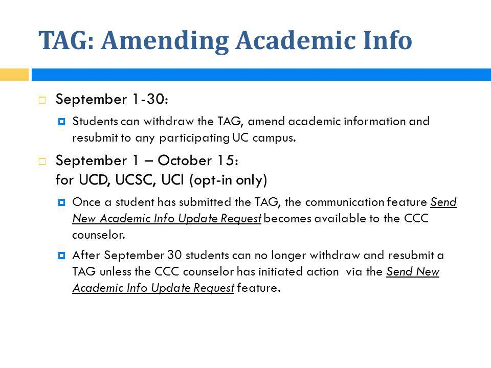 TAG: Amending Academic Info