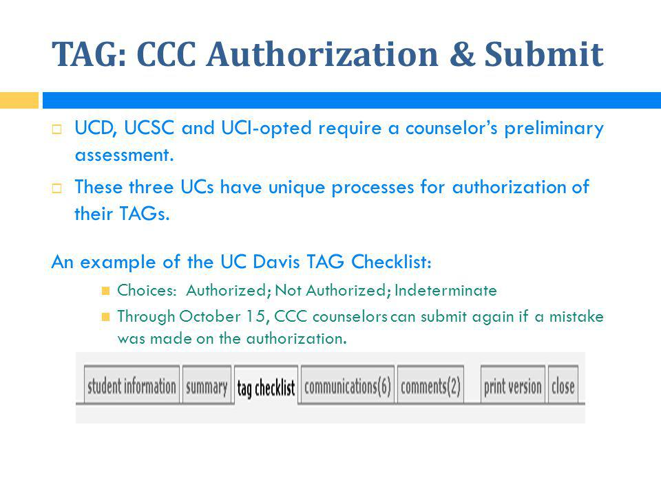 TAG: CCC Authorization & Submit
