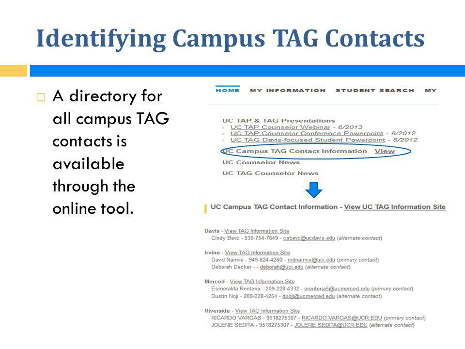 Identifying Campus TAG Contacts