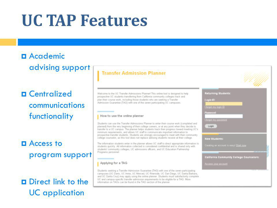 UC TAP Features Academic advising support