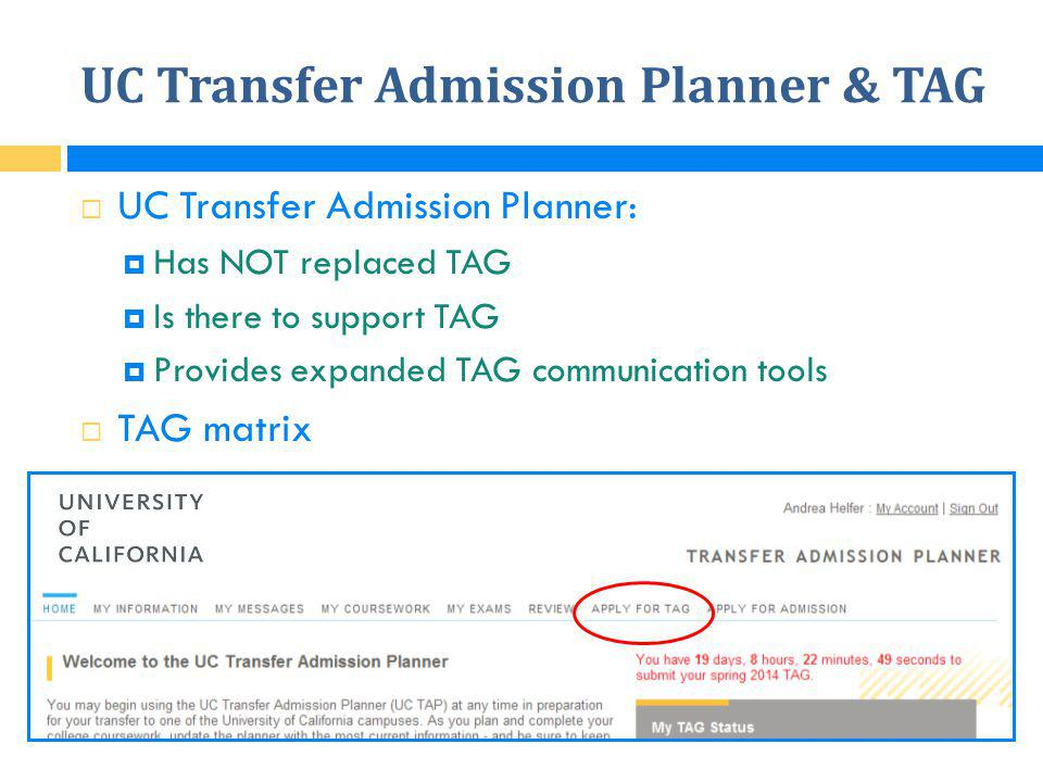 UC Transfer Admission Planner & TAG