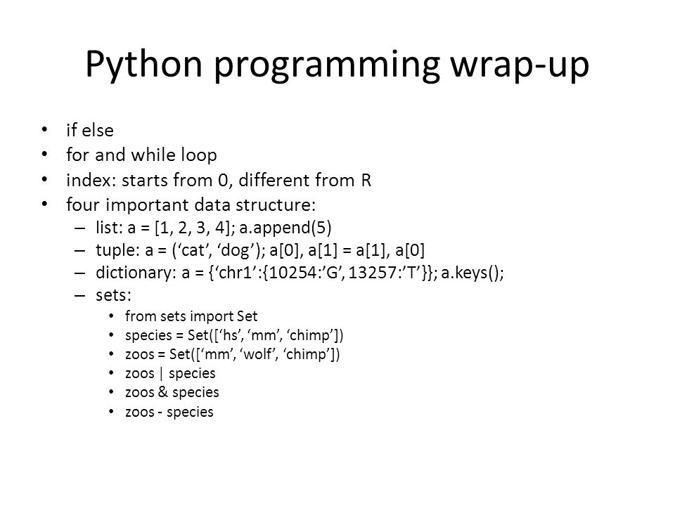 Python programming wrap-up