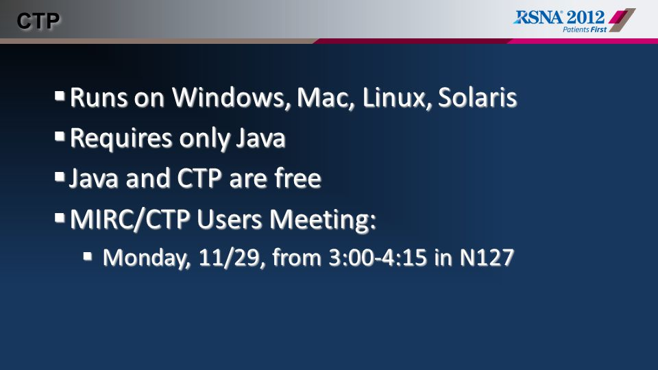 Runs on Windows, Mac, Linux, Solaris Requires only Java