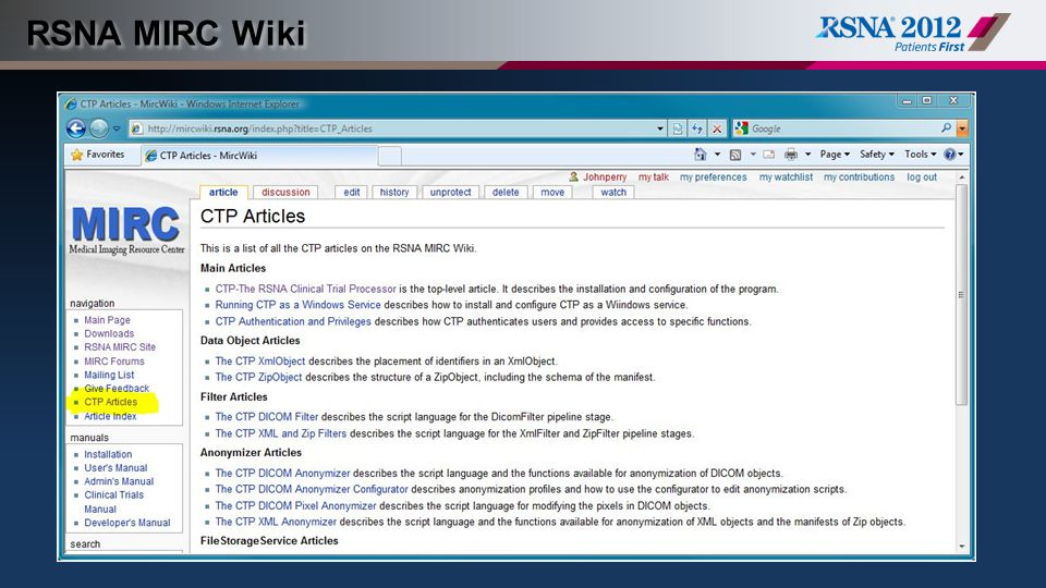 RSNA MIRC Wiki (Content slide, color option 1)