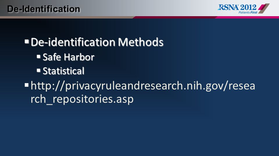 De-identification Methods