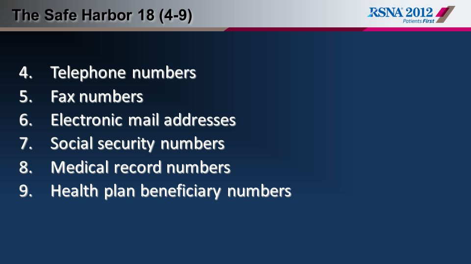 Electronic mail addresses Social security numbers