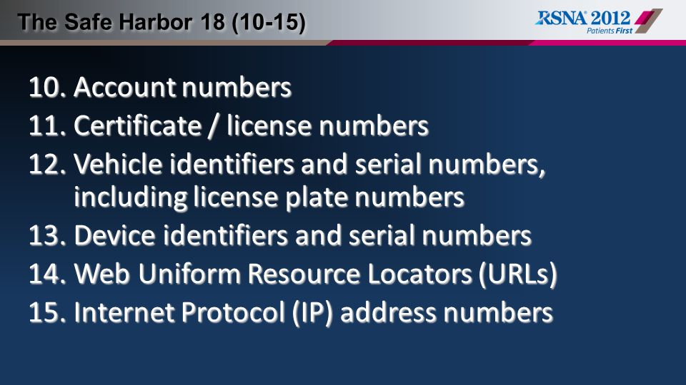 Certificate / license numbers