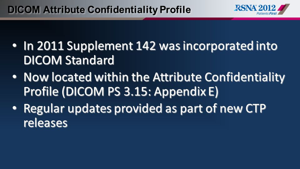 DICOM Attribute Confidentiality Profile
