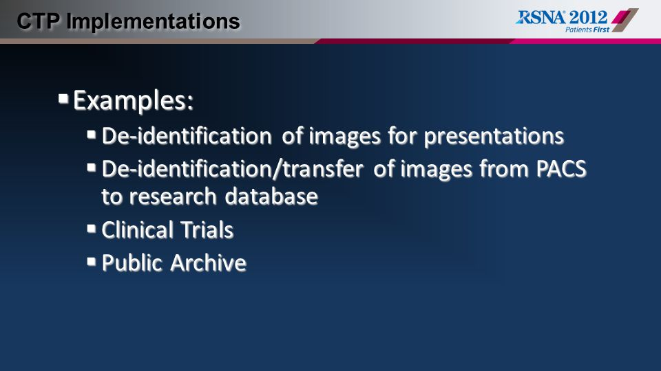 Examples: De-identification of images for presentations