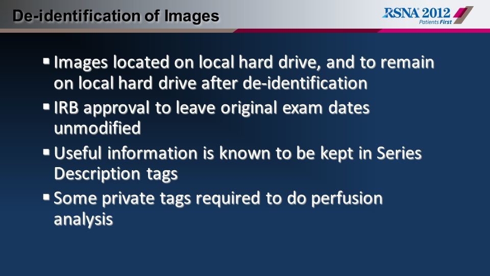 De-identification of Images