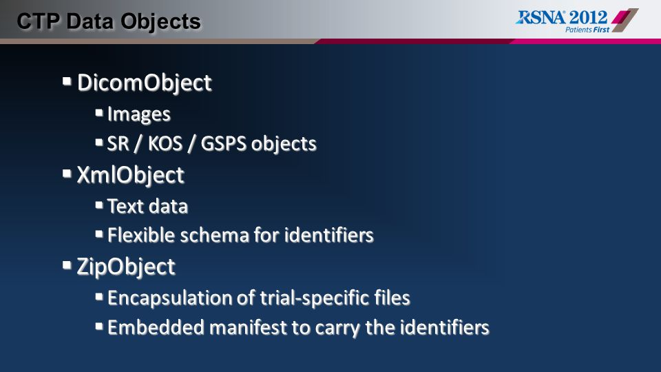 DicomObject XmlObject ZipObject CTP Data Objects Images