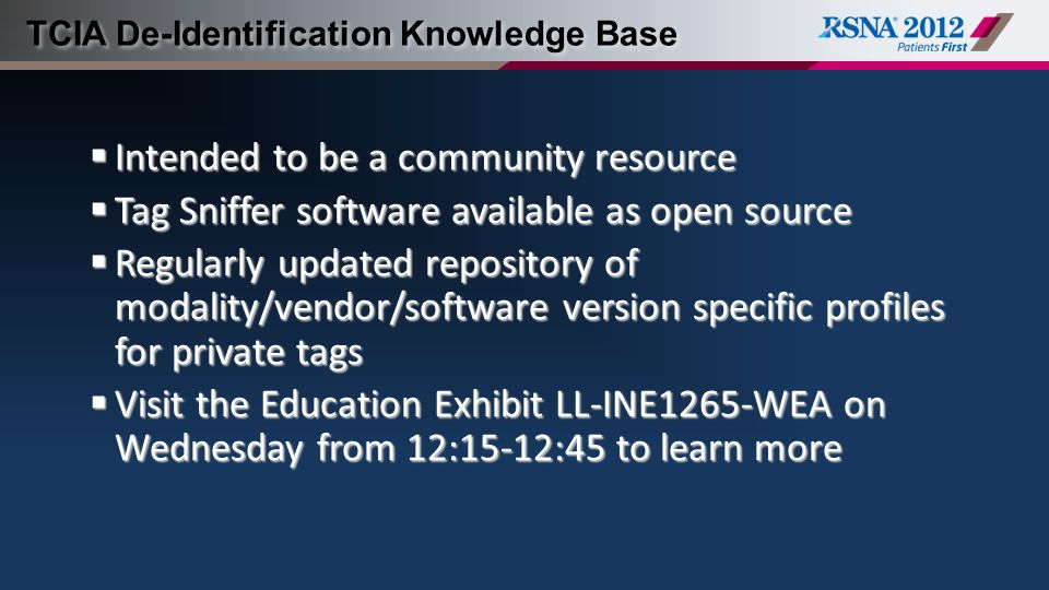 TCIA De-Identification Knowledge Base