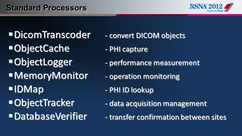 DicomTranscoder - convert DICOM objects ObjectCache - PHI capture