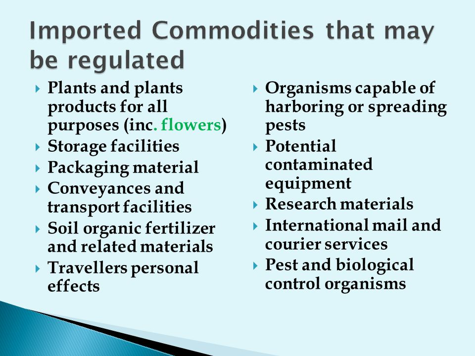 Imported Commodities that may be regulated