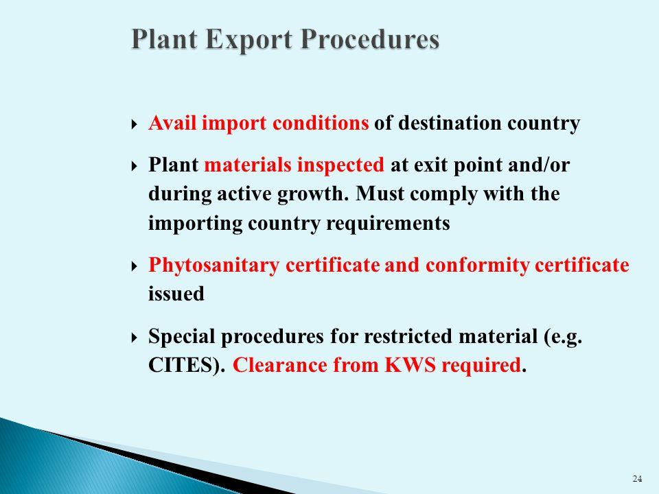 Plant Export Procedures