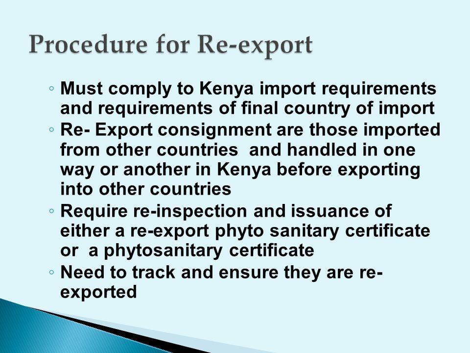 Procedure for Re-export