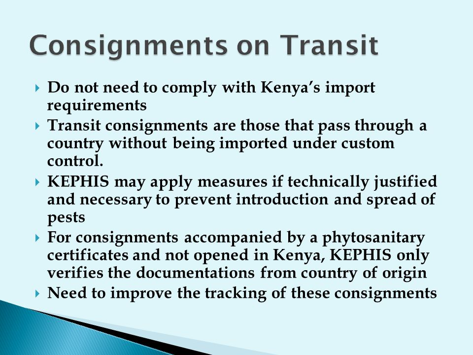 Consignments on Transit