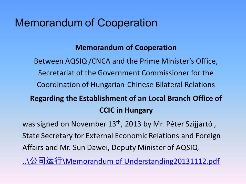 Memorandum of Cooperation