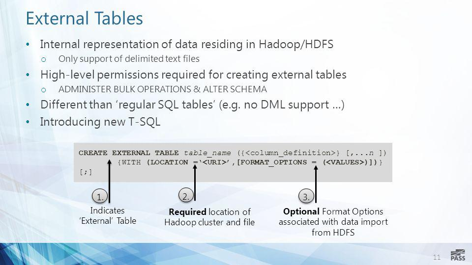 External Tables Internal representation of data residing in Hadoop/HDFS. Only support of delimited text files.